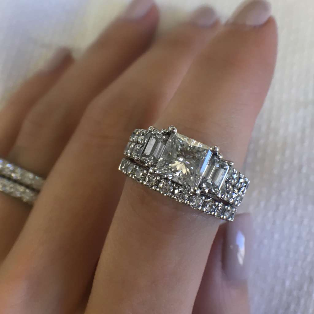 Princess cut and baguette engagement ring