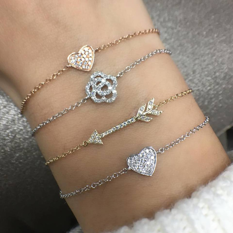 diamond heart, arrow and flower bracelets