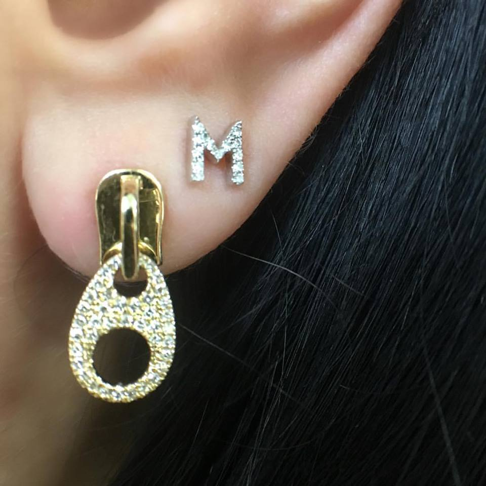 diamond zipper earrings