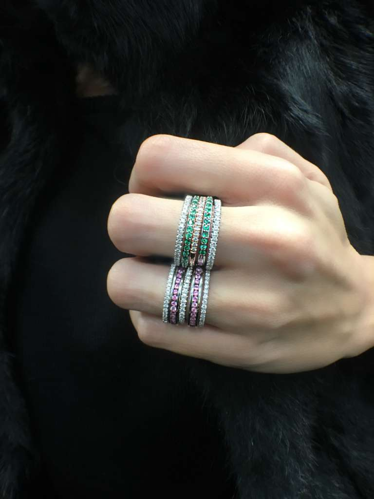 emerald and pink sapphire stacking rings