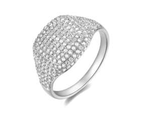 pave dome ring white gold diamond