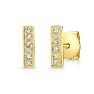 tiny diamond bar earring yellow gold