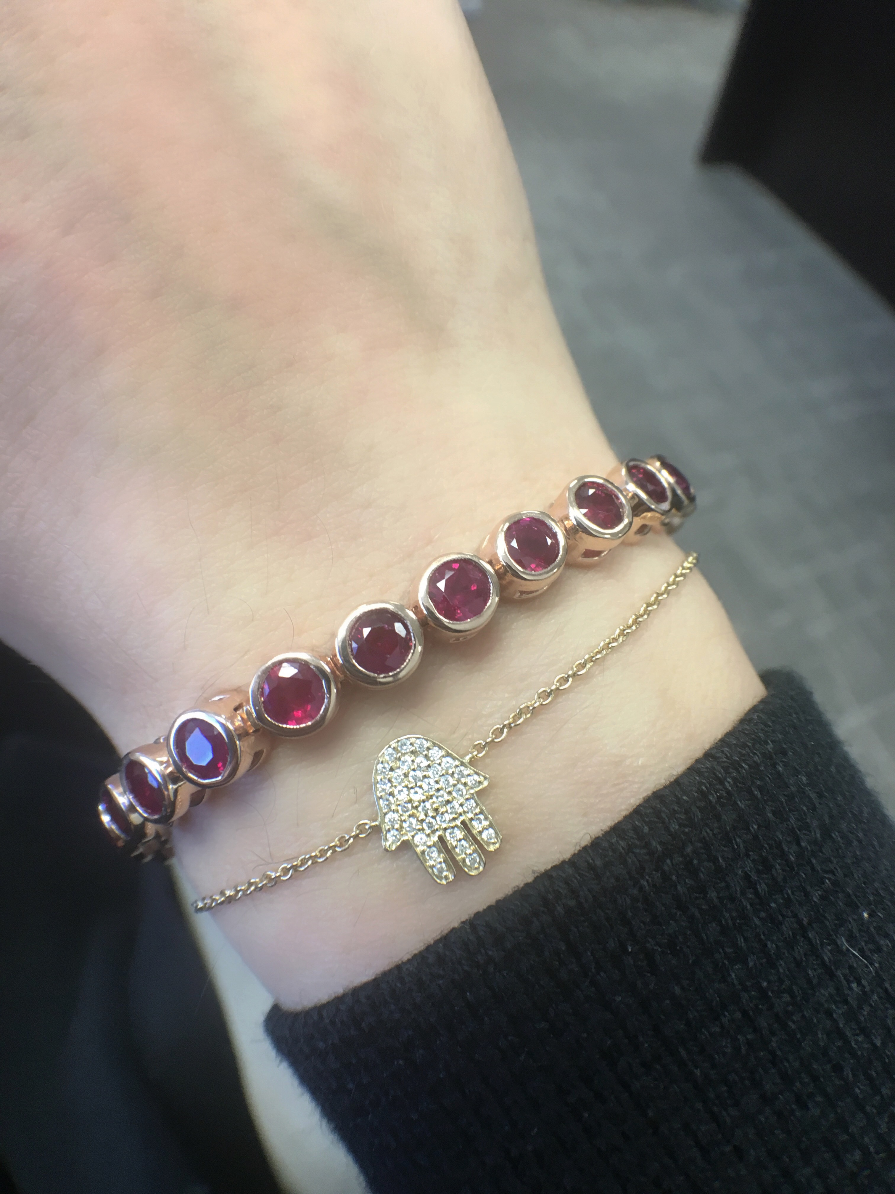 rose gold and ruby bracelet